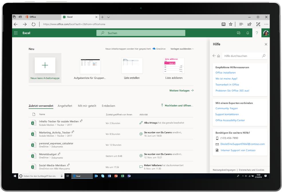Ein Screenshot mit einer geöffneten Excel-Registerkarte in Office Online