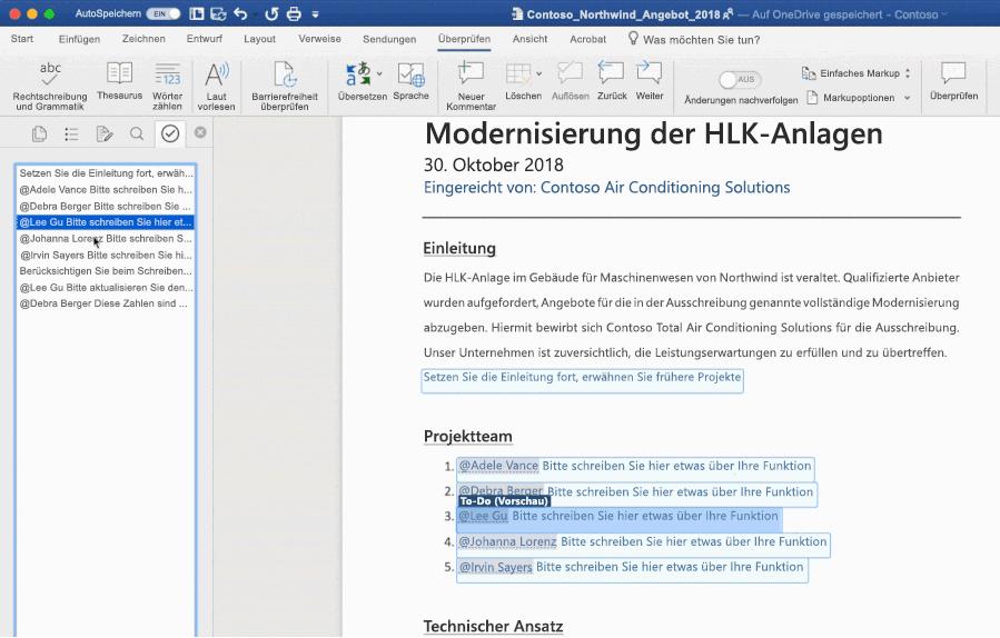Screenshot eines Word-Dokuments, in dem die KI-gestützte To-Do-Funktion genutzt wird