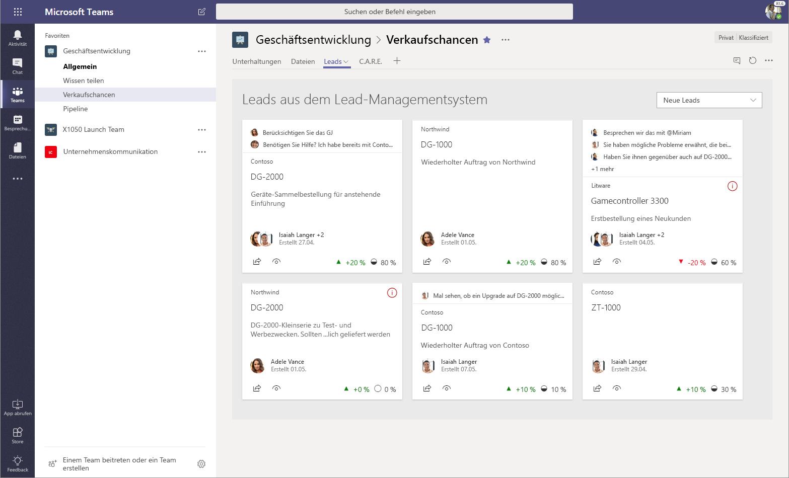 Abbildung eines SharePoint-Framework-Webparts für ein benutzerdefiniertes Leadmanagementsystem in Microsoft Teams