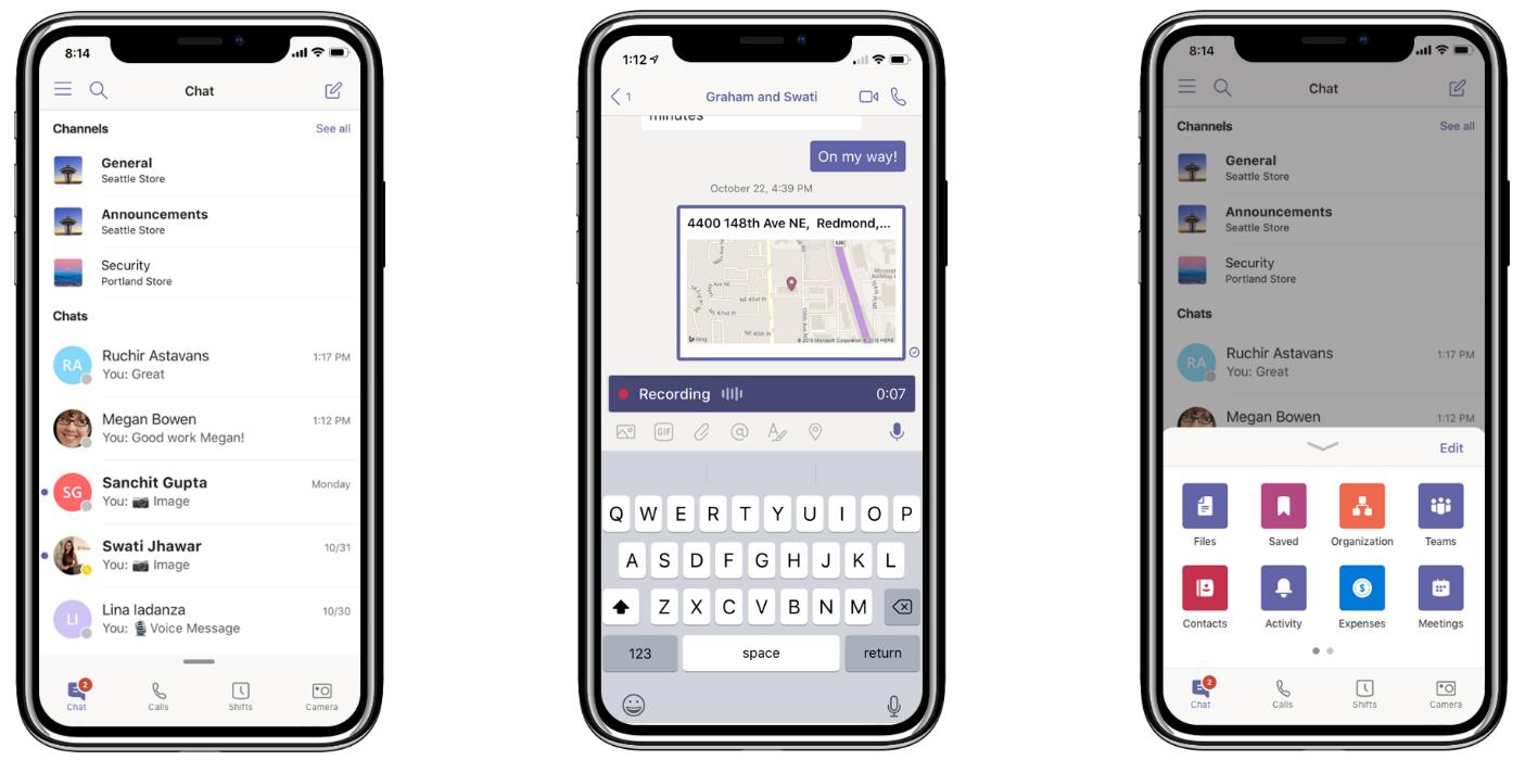 Drei iPhones mit den neuen Teams-Funktionen: Alle Unterhaltungen in einer Ansicht (links), Teilen des Standorts und Aufzeichnen von Audionachrichten (Mitte) und Anpassen des Navigationsmenüs (rechts)