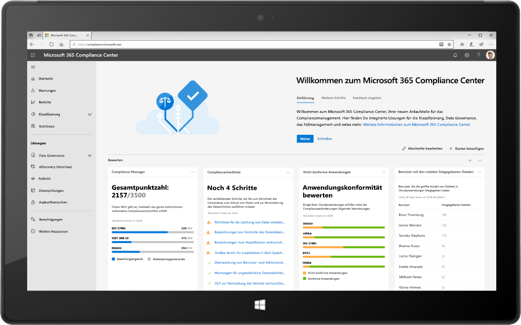 Tablet mit dem neuen Microsoft 365 Compliance Center
