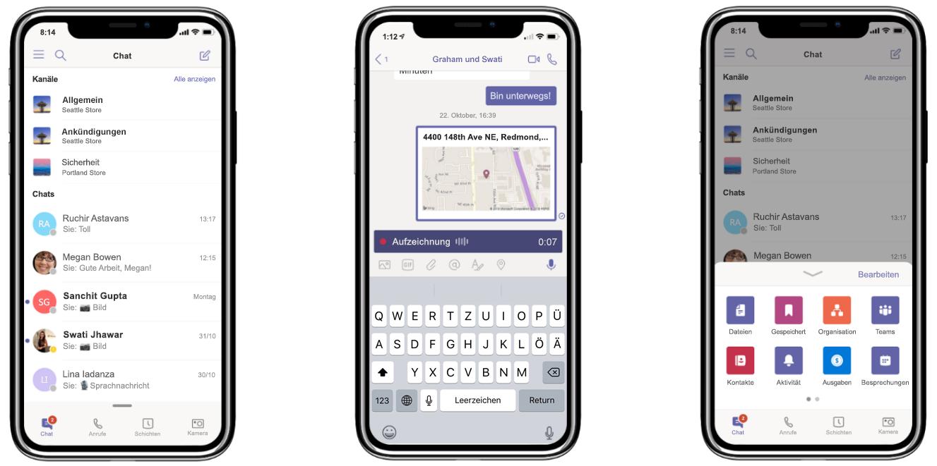 Drei Smartphones mit der Chatfunktion und der Anrufaufzeichnung in Microsoft Teams