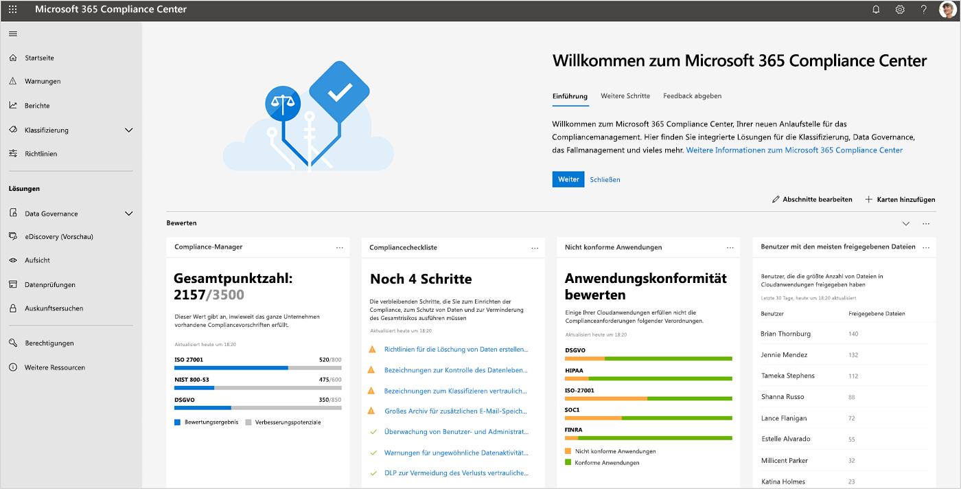Screenshot des Microsoft 365 Compliance Center-Dashboards