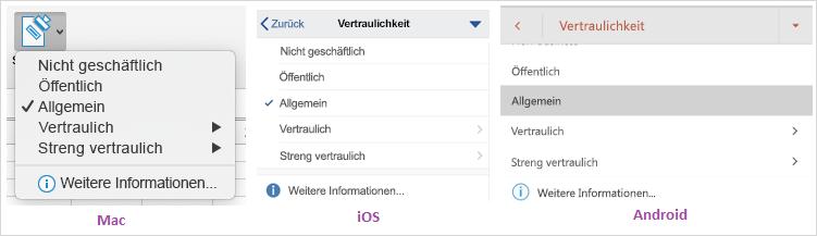 """Screenshot der Dropdownliste """"Vertraulichkeit"""" unter macOS, iOS und Android"""