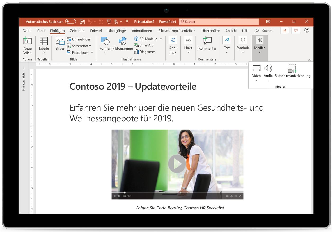 Ein Tablet mit einer PowerPoint-Folie