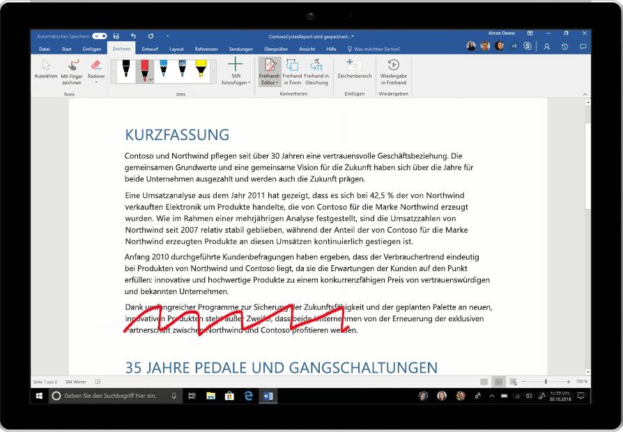 Abbildung des Freihand-Editors in einem Word-Dokument. Eine Animation zeigt, wie ein Abschnitt gestrichen, ein Wort eingefügt und eine Leerzeile hinzugefügt wird.