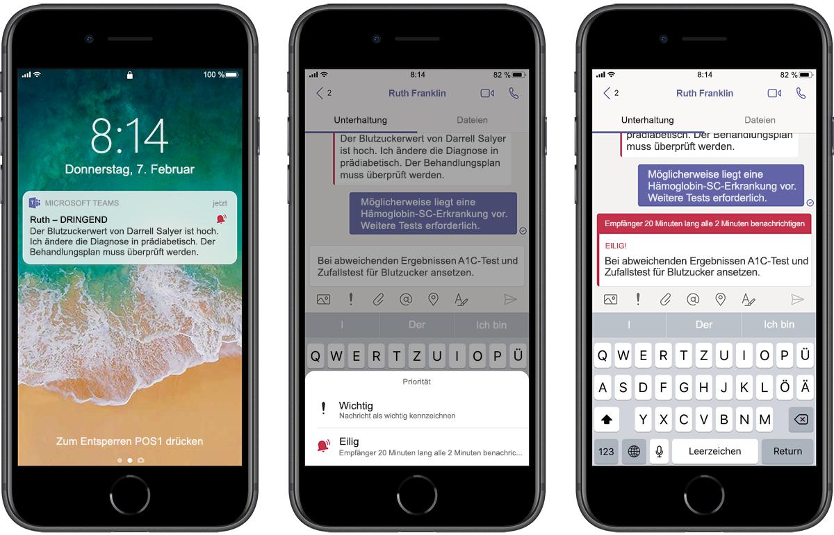 Abbildung von drei Smartphones mit einer Nachrichtenübermittlung in Teams