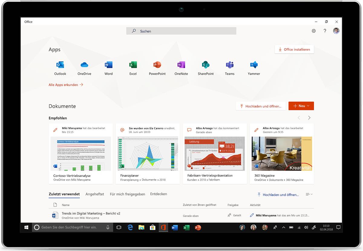 Abbildung eines Tablets mit den neuen Office-Apps für Windows 10