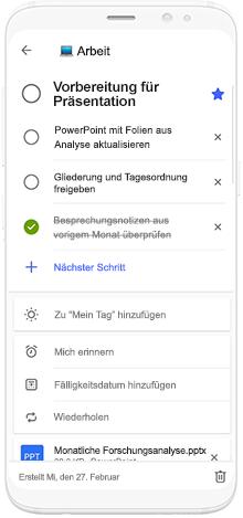 Abbildung eines Smartphones mit Microsoft To-Do und der Planung einer Präsentation