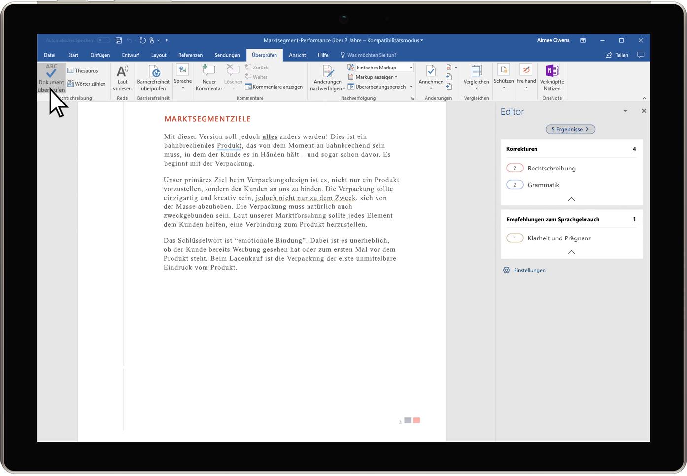 Abbildung der Editor-Übersicht in einem Word-Dokument