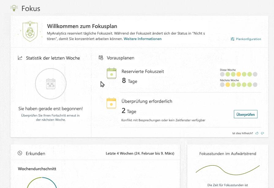 """MyAnalytics-Dashboard mit ausgewählter Registerkarte """"Fokus"""". Der Benutzer klickt zunächst auf """"Ausprobieren"""", um automatisch tägliche Fokuszeit reservieren zu lassen. Im Outlook-Kalender werden die Zeitfenster grün dargestellt."""