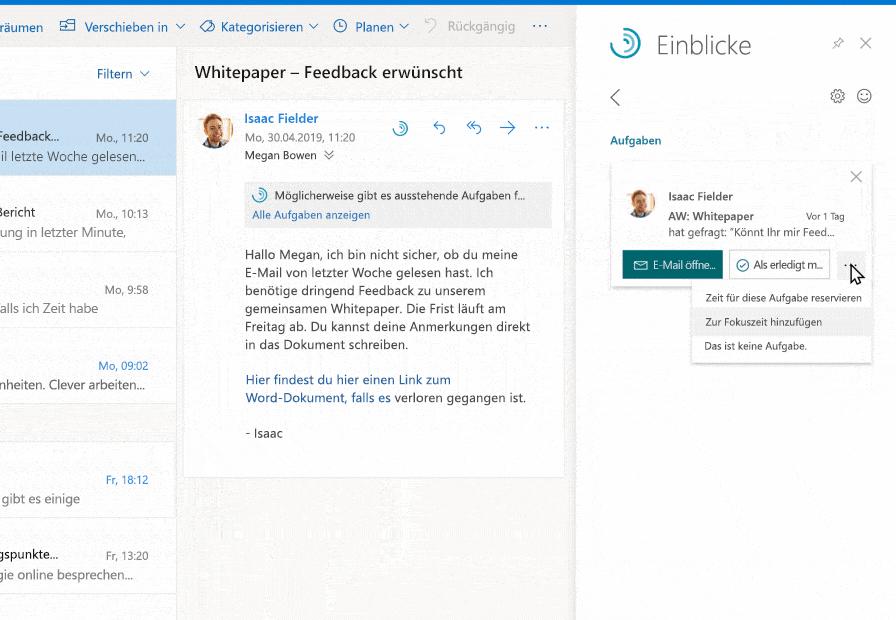 Ein Inline-Vorschlag, in dem Outlook eine unerledigte Aufgabe für die Person hervorhebt, von der der Benutzer eine E-Mail erhalten hat. Der Benutzer platziert die Aufgabe in einem zukünftigen Zeitfenster.