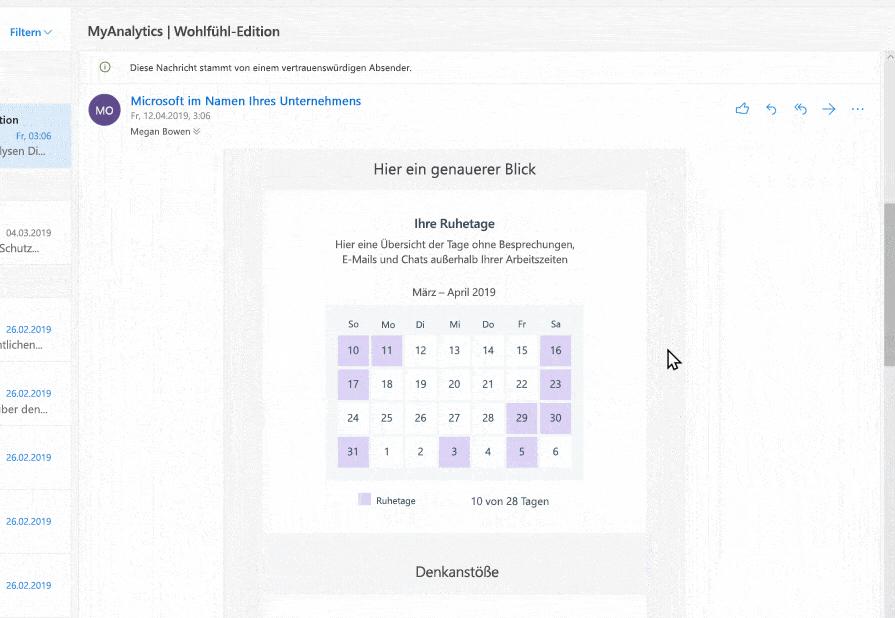 Screenshot von MyAnalytics in Outlook