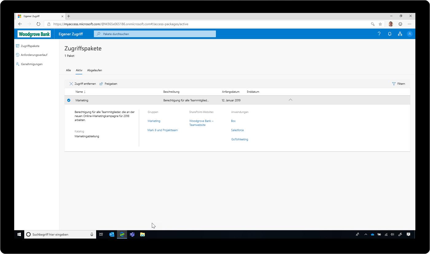 Screenshot von Zugriffspaketen in Azure Active Directory