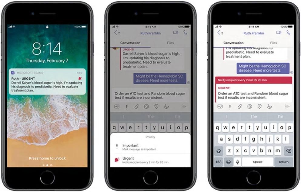 Abbildung von Smartphone-Bildschirmen mit Prioritätsbenachrichtigungen und Delegierung von Nachrichten