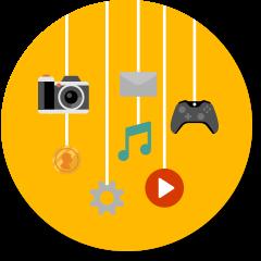 Kamera, Musik, Spielecontroller, Dateien, Video-Wiedergabetaste