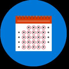 Kalender, bei dem alle Tage eingekreist sind