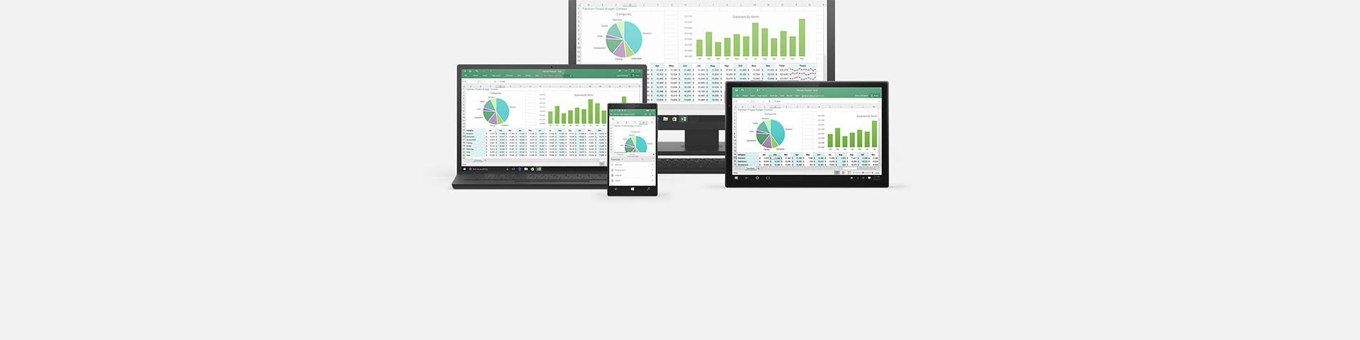 Mehrere Geräte, die ein Excel-Arbeitsblatt anzeigen