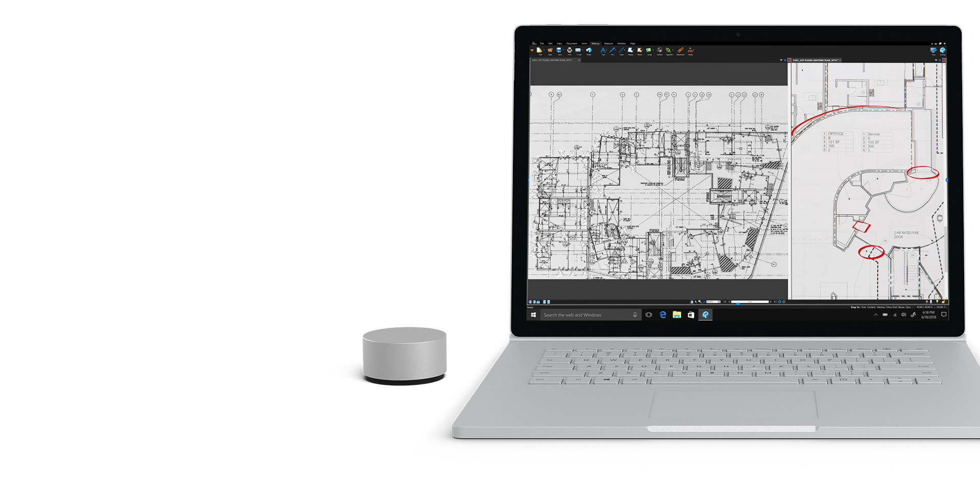 Surface Book 2-Display mit geöffnetem Bluebeam