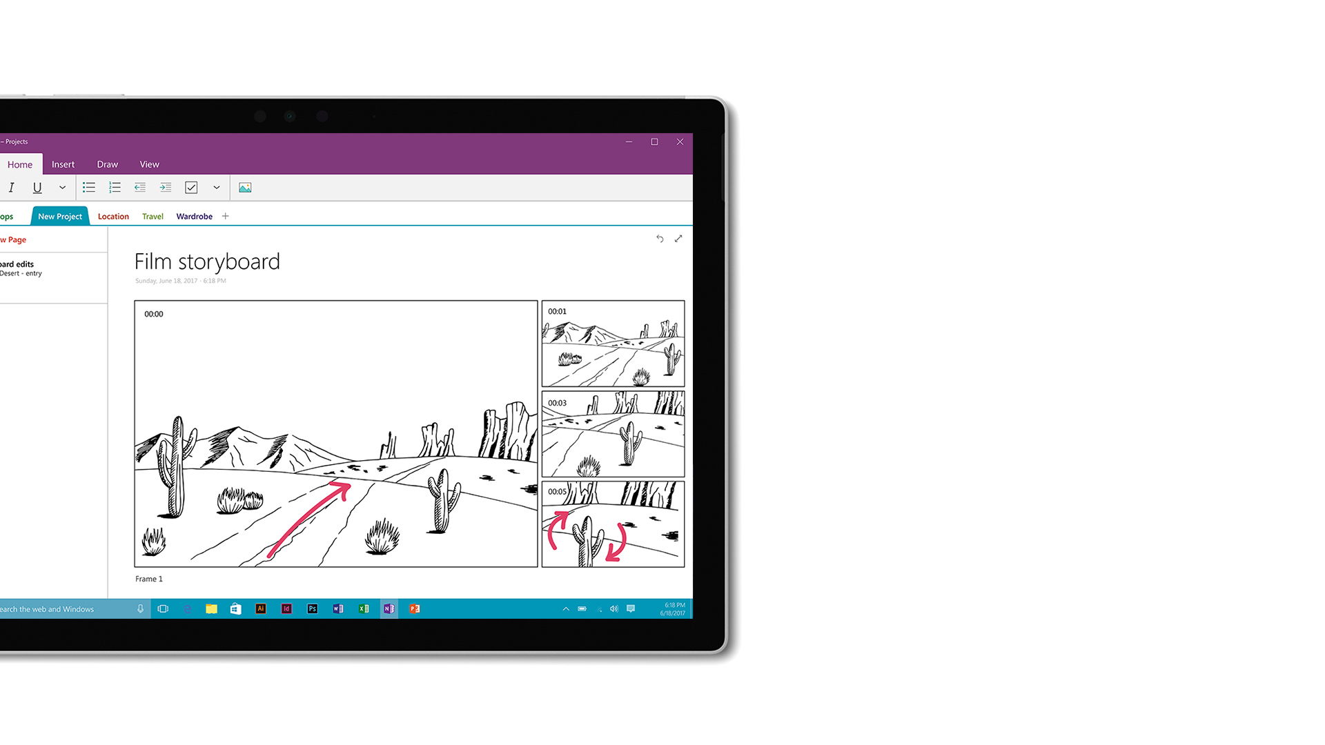 OneNote-Screenshot auf Surface.