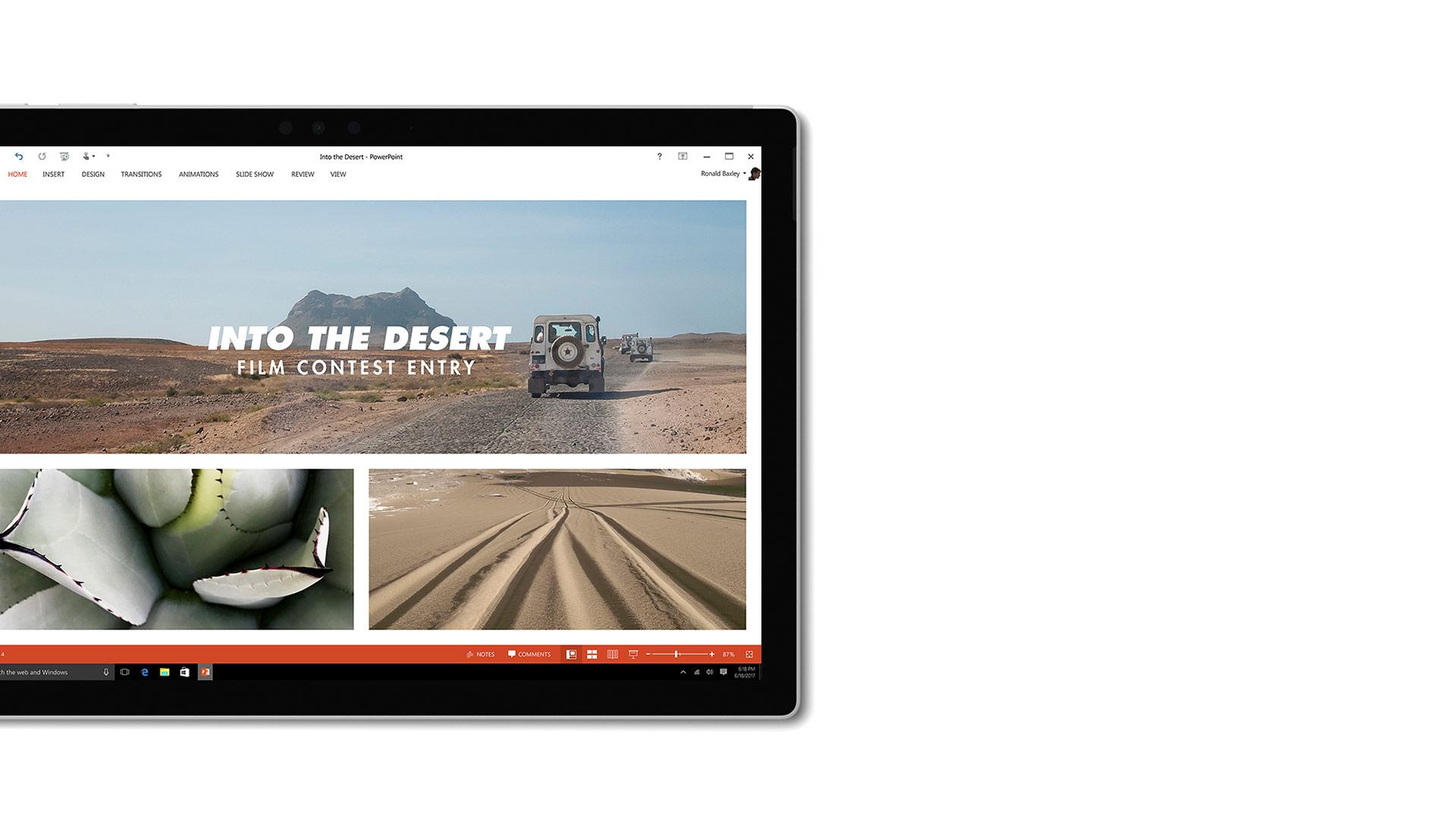 PowerPoint-Screenshot auf Surface.
