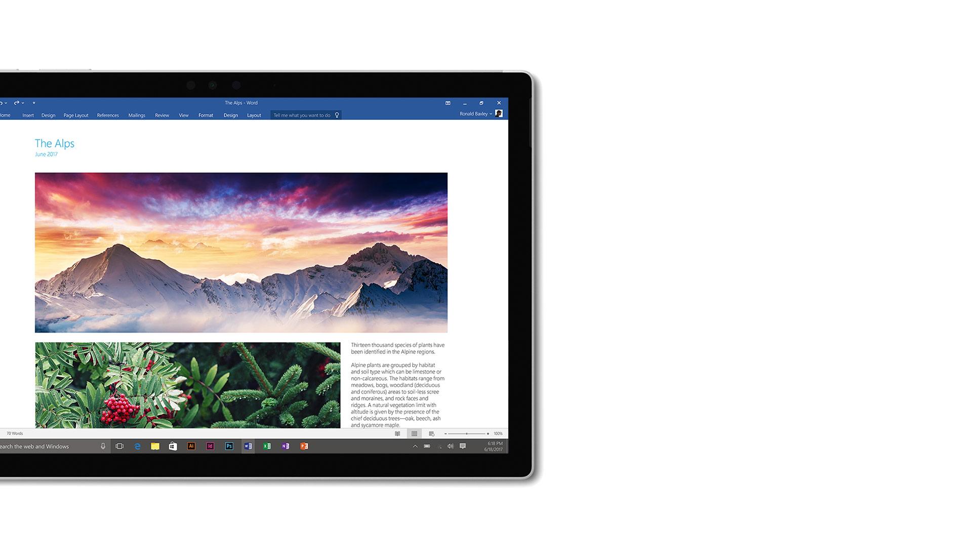 Word-Screenshot auf Surface.