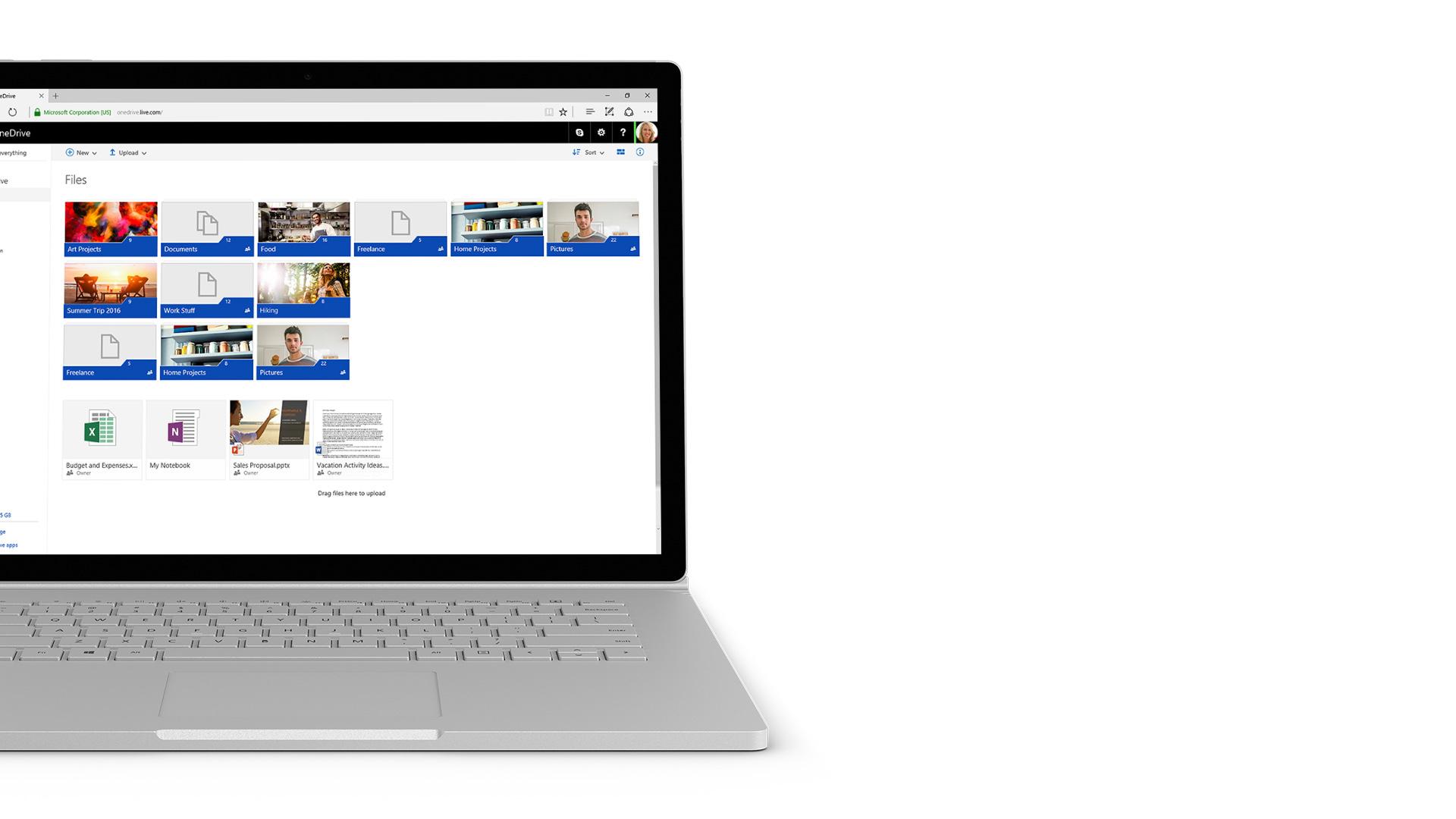 OneDrive-Screenshot auf Surface.