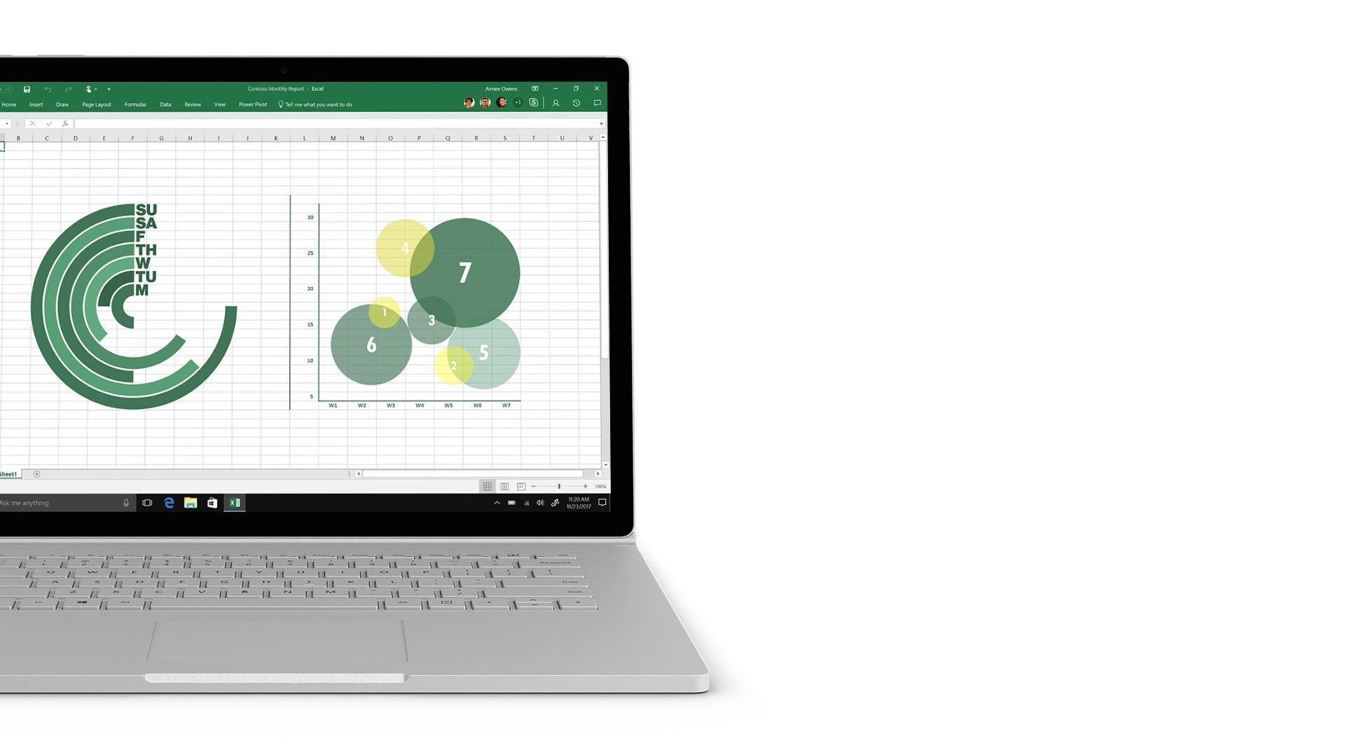 Excel-Screenshot auf Surface.