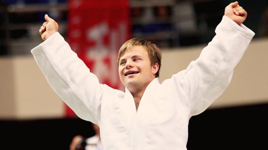 Young man wearing karatege
