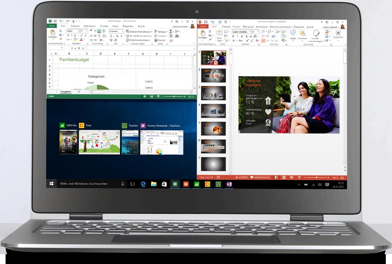 Laptop mit drei angedockten Apps