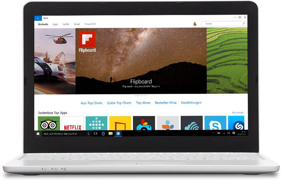 Laptop mit Windows Store auf dem Bildschirm