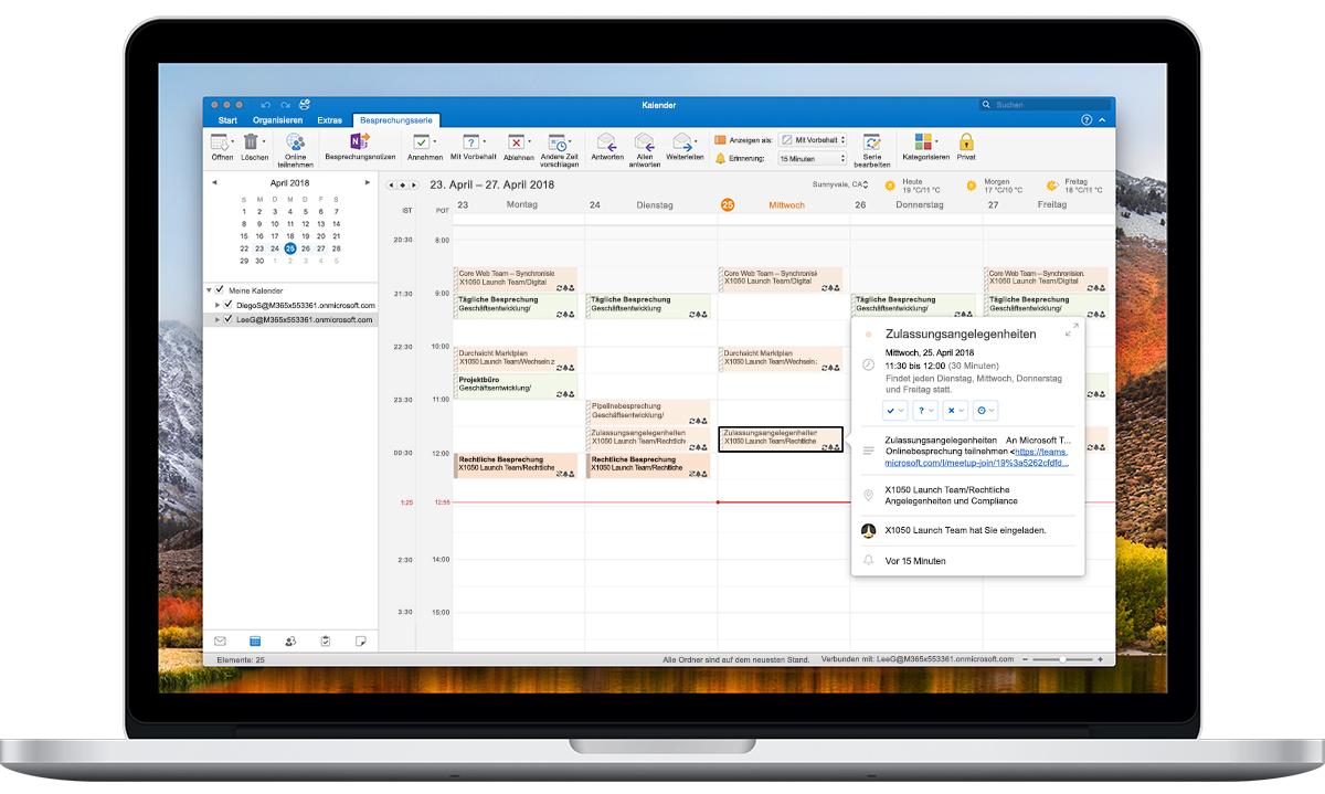 """Ein geöffneter Laptop, auf dem """"Zeitzonenoptionen"""" im Outlook-Kalender angezeigt wird"""