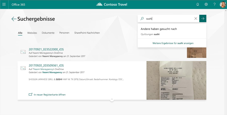 Ein Screenshot der neuen Office.com-Oberfläche, auf der Suchergebnisse angezeigt werden
