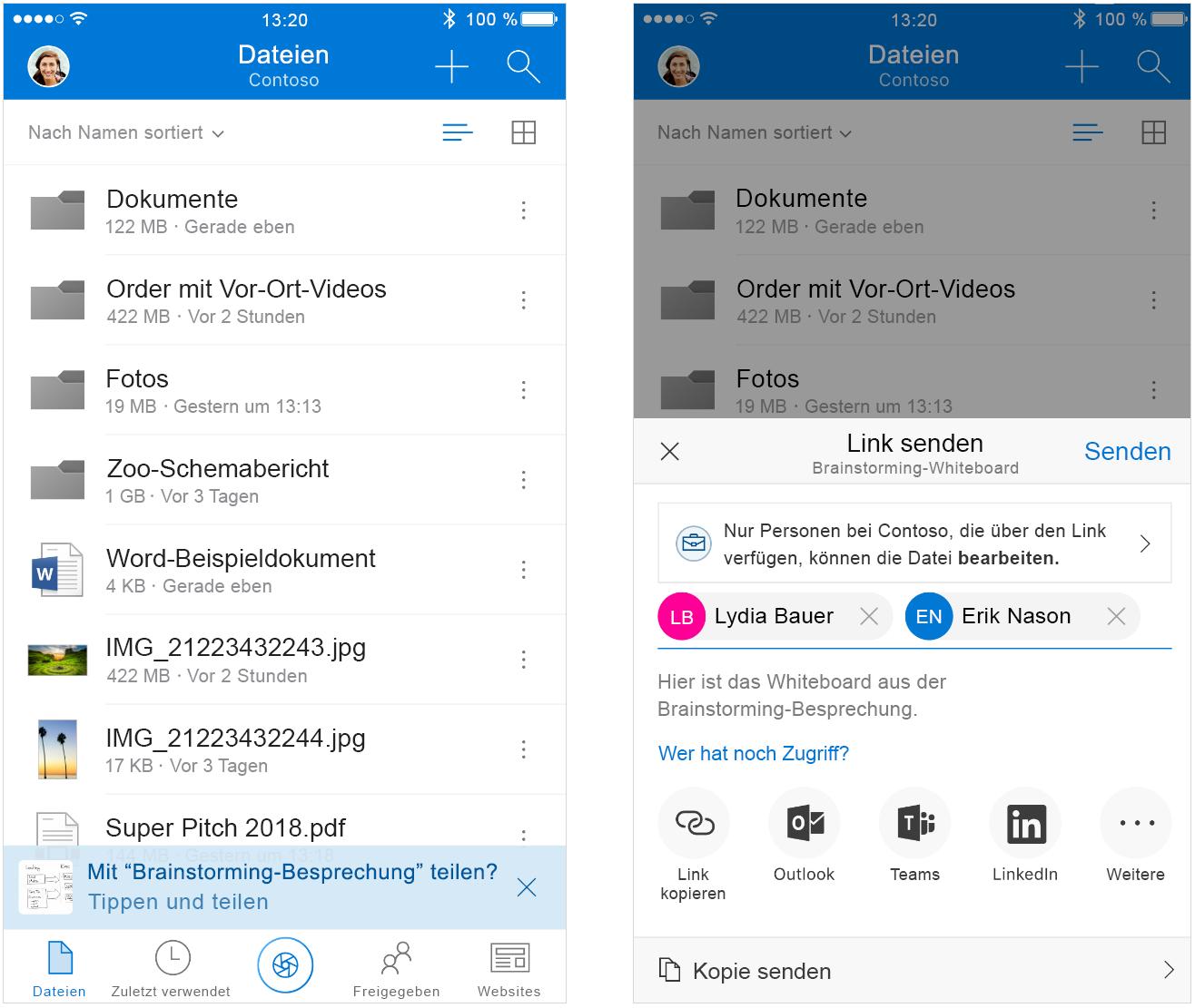 Zwei nebeneinander angezeigte Screenshots, die die intelligente Dateifreigabe in Outlook verdeutlichen