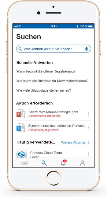 Abbildung eines Mobilgeräts mit der mobilen SharePoint-App.