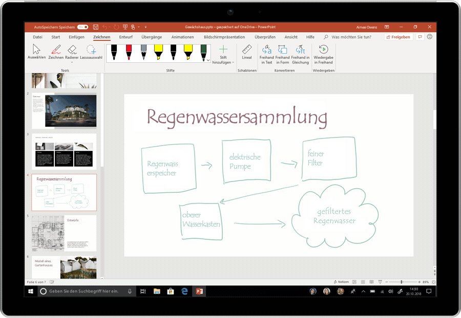 Ein Screenshot mit einer PowerPoint-Animation, der die Umwandlung von Freihandschrift in das Textformat zeigt