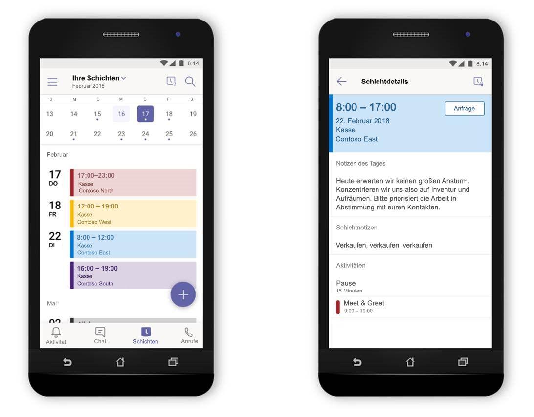 """Eine Abbildung von zwei Smartphones nebeneinander, die die Funktion """"Schichten"""" in Microsoft Teams anzeigen."""
