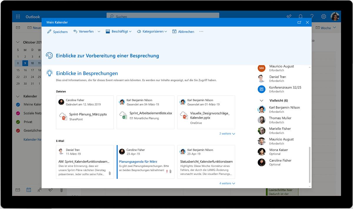 """Einblicke zur Vorbereitung einer Besprechung in Outlook in """"Mein Kalender"""""""