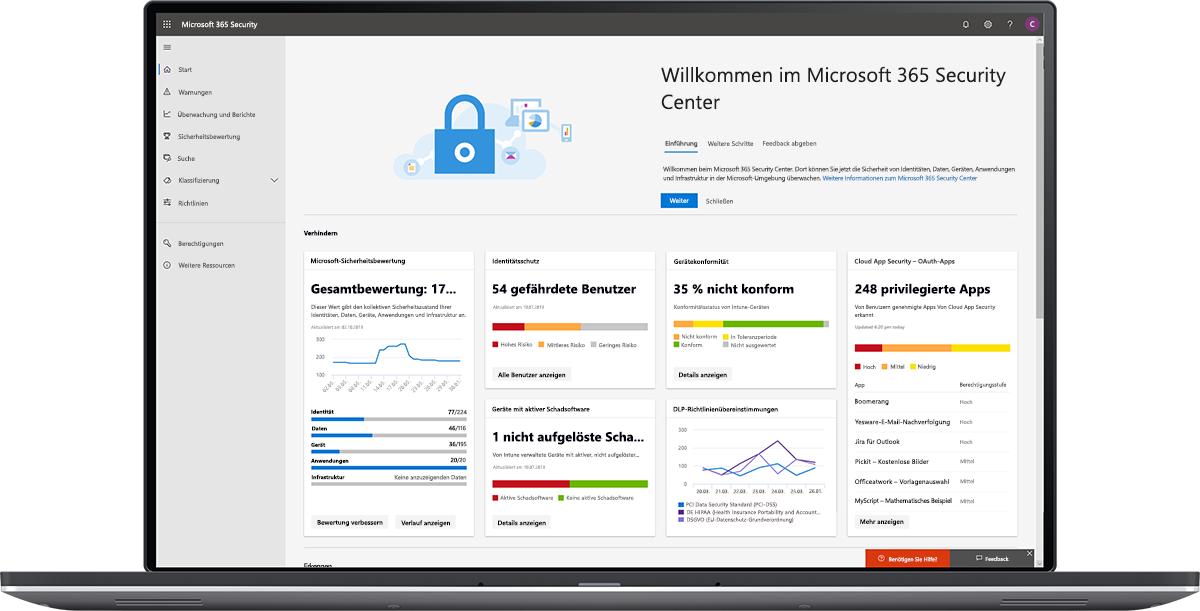Abbildung des Microsoft 365 Security Center-Dashboards