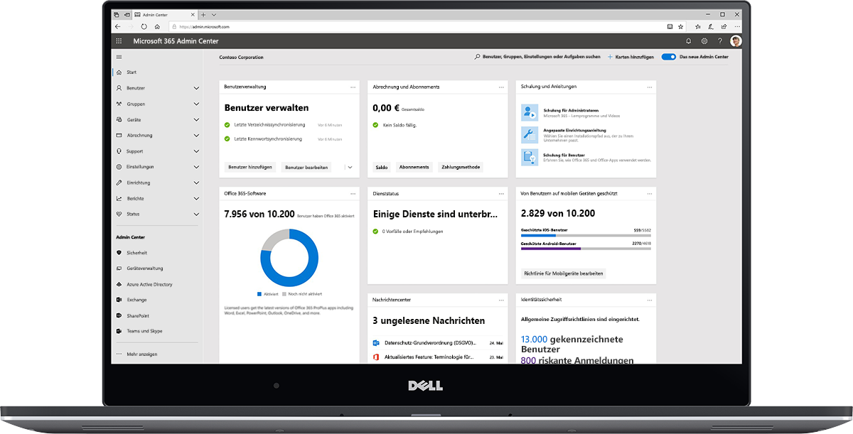 Abbildung des Microsoft 365 Admin Center-Dashboards