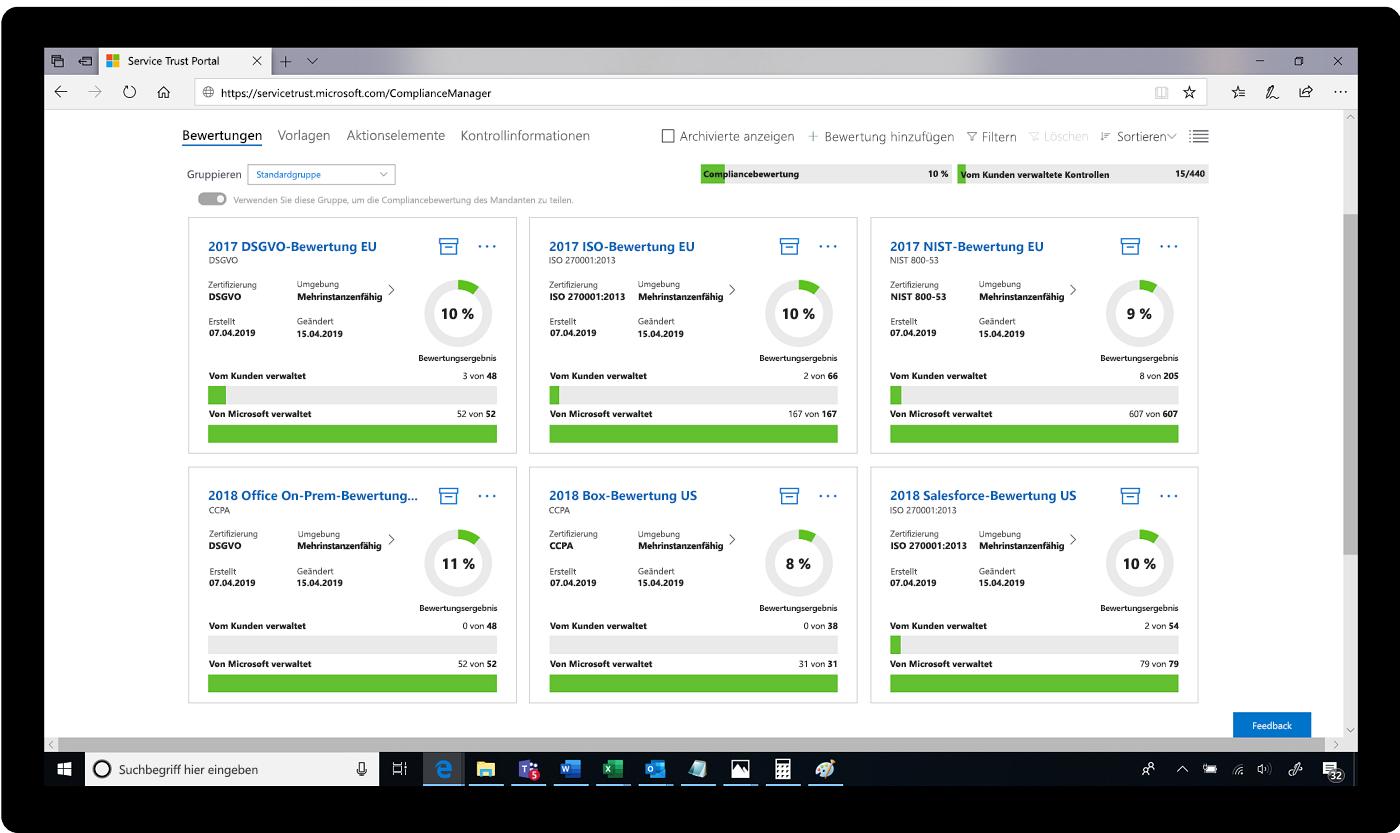 Screenshot einer Bewertung im Service Trust Portal