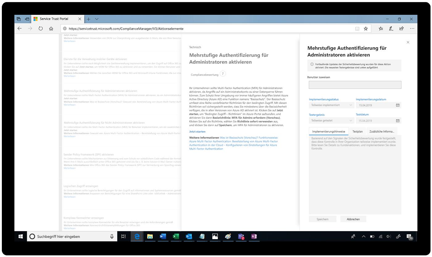 Screenshot des Service Trust Portals mit aktivierter mehrstufiger Authentifizierung