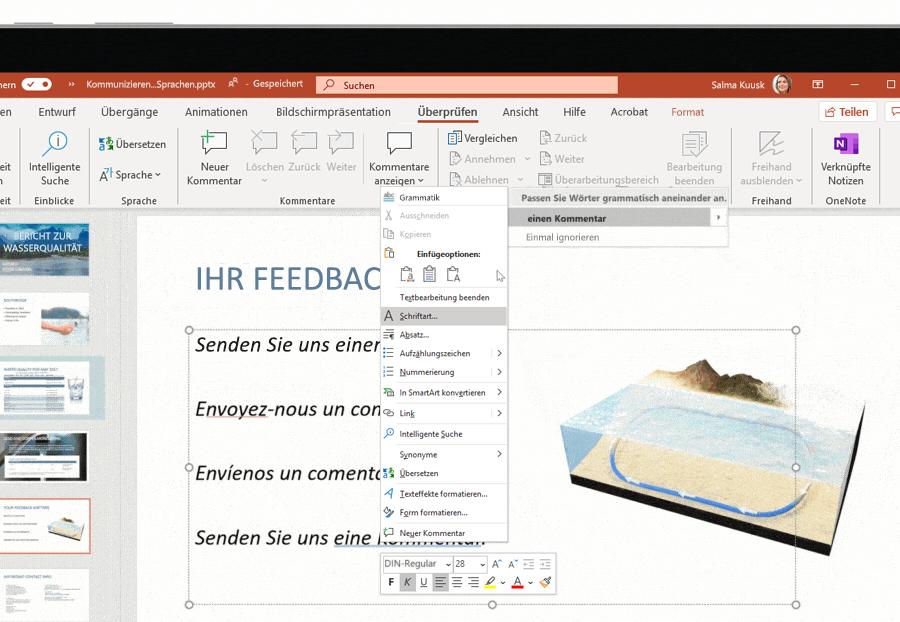 Screenshot der Unterstützung mehrerer Sprachen auf einer Microsoft PowerPoint-Folie