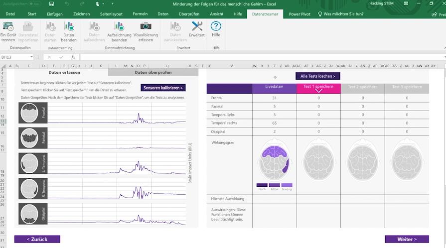 Screenshot einer Arbeitsmappe zur Messung von Erschütterungen des Gehirns mit dem Datenstreamer in Excel