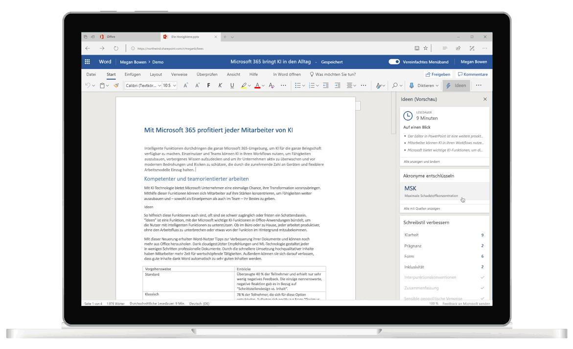 """Screenshot von """"Ideen"""" in Word, dem intelligenten Editor für Grammatikkorrekturen und Formulierungsvorschläge"""