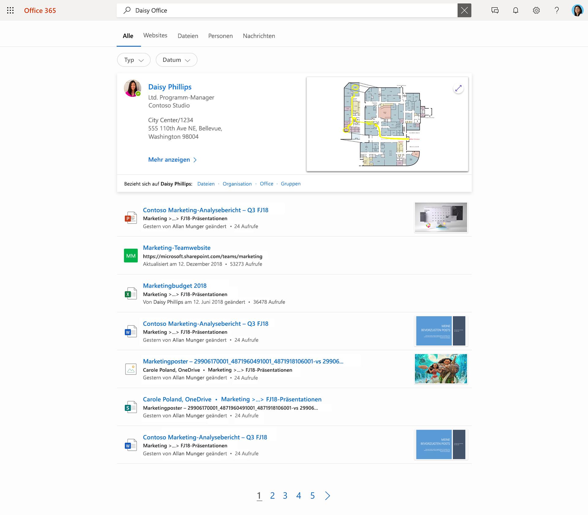 """Abbildung von Microsoft Search. Nach der Eingabe von """"Daisy Office"""" in das Suchfeld wird eine Liste mit Kontakten, Dateien und Websites angezeigt."""