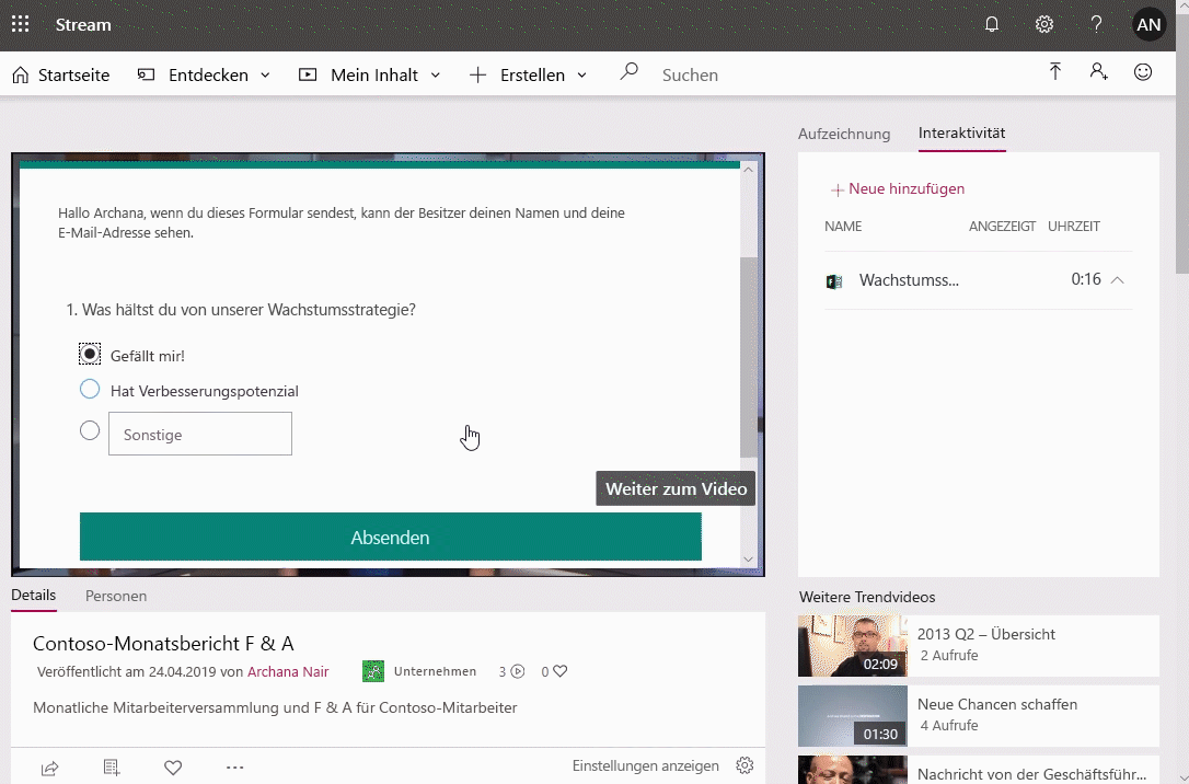 Screenshot eines in Microsoft Stream wiedergegebenen Videos