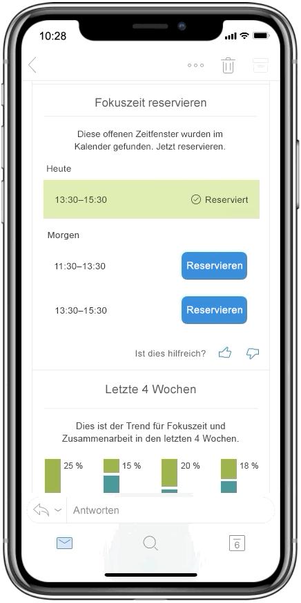 Screenshot mit Fokuszeiten in MyAnalytics