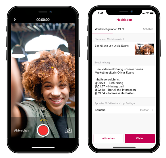 Zwei Smartphones mit der Microsoft Stream Mobile-App
