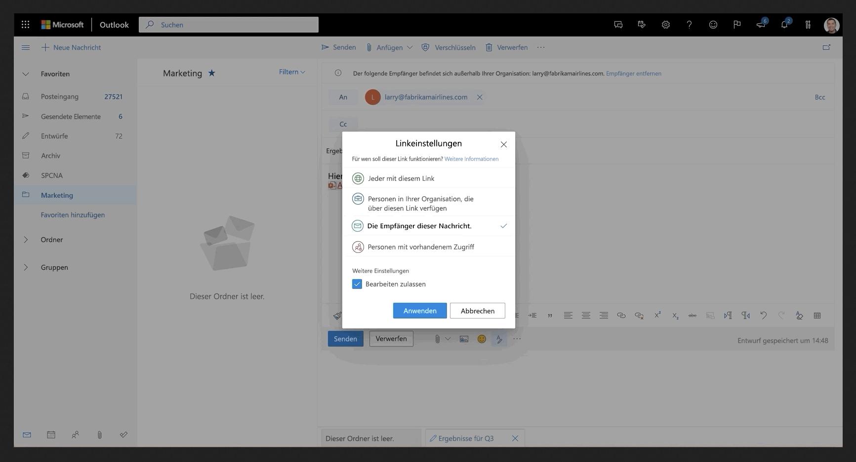 Eine freigegebene Datei in Outlook